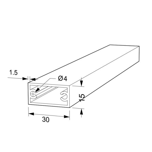 RECTANGLE ALUMINUM PROFILE 30x15 D.4 ANODIZED